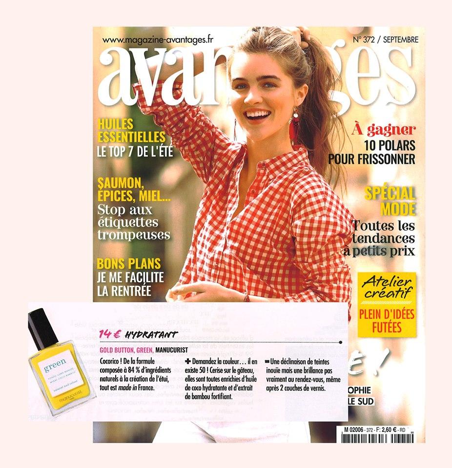 Vernis Green Gold Button jaune Presse magazine avantages