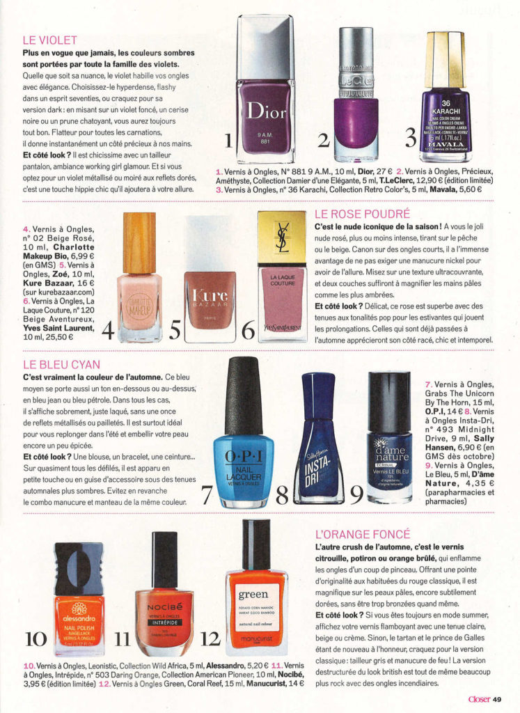 Manucurist Vernis Green Coral Reef dans Closer sept 2019