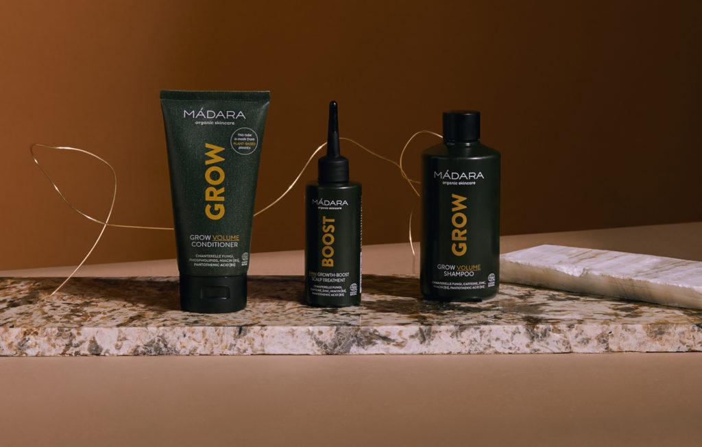 MADARA Grow ligne de soin cheveux bio; Volume et Croissance; Shampooing, Booster, Après-Shampooing