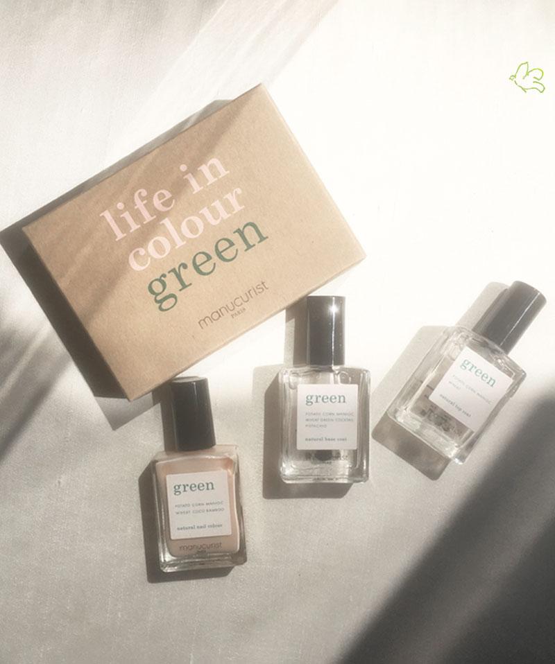MANUCURIST PARIS Coffret GREEN Three Steps Vernis Nude naturel