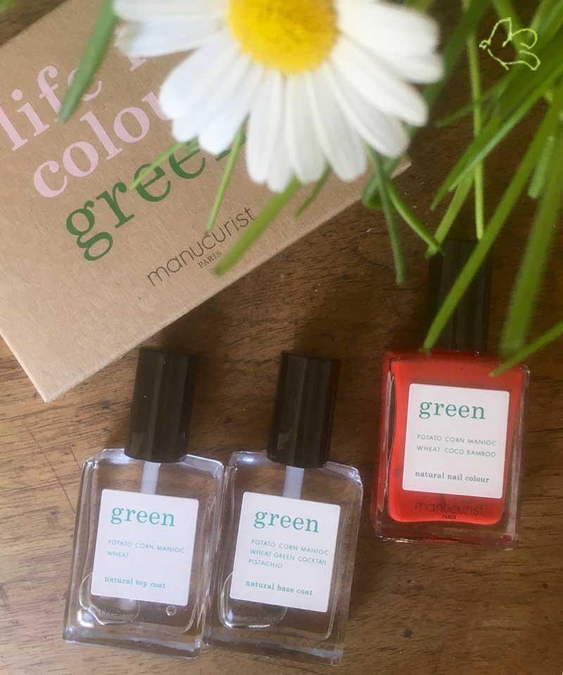 MANUCURIST PARIS Coffret GREEN Three Steps Vernis Poppy Red rouge coquelicot