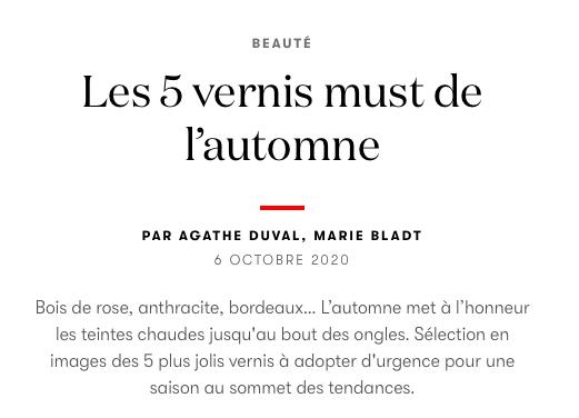 Vogue vernis must automne Victoria Plum Manucurist