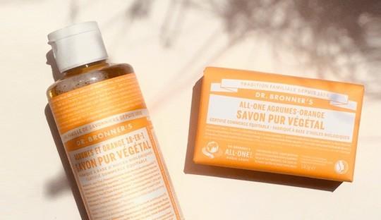 Dr. Bronenrs Savon liquide Pur Végétal et Pain de Savon bio Agrumes Orange