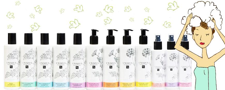 Shampooing bio cheveux brillants santé soyeux beauté naturelle cosmétique certifé Ecocert Madara Unique Haircare green
