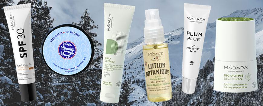 essentiels Cosmétique bio et beauté naturelle vacances d'hiver destination  montagne ski soin visage soapwalla solaire deodorant madara