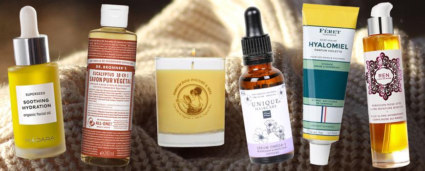 Cosmétique végétale beauté bio naturelle vacances hiver campagne cocooning huile crème naturel bougie parfumee senteur cheveux