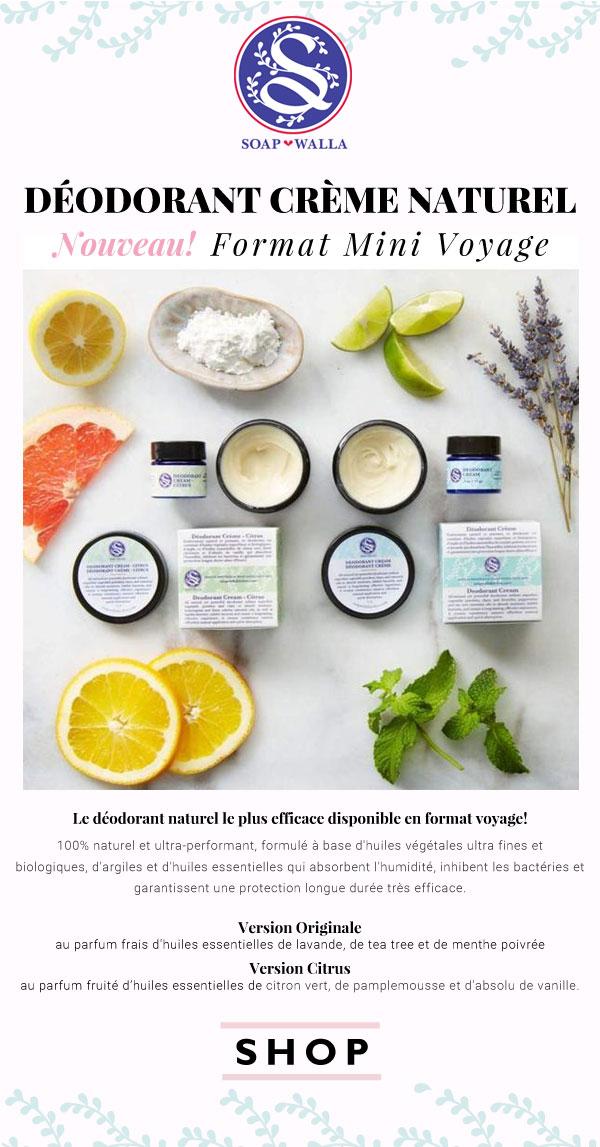Soapwalla Déodorant Crème Naturel format mini voyage Original Citrus