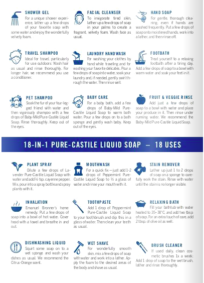 Dr Bronner's liquid soap organic natural 18 in1 uses