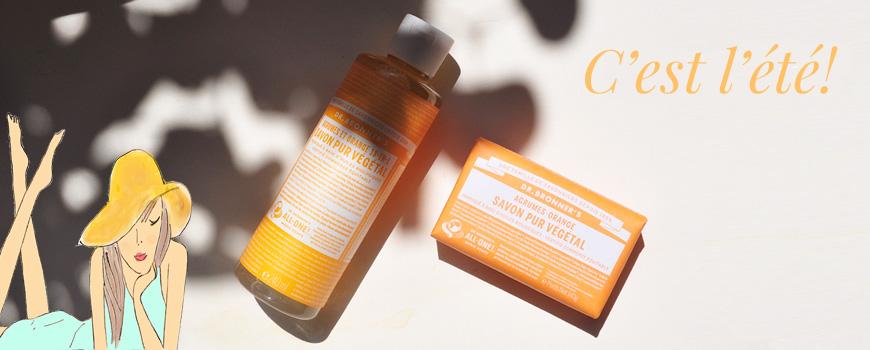 Dr. Bronner's savon bio pur végétal 18 en 1 agrume orange été Beauté bio cosmétique