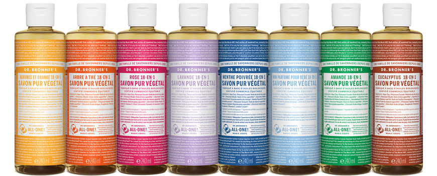 Dr Bronner's Naturreine 18 in 1 Flüssigseife magic soap vegan Fairtrade recycling