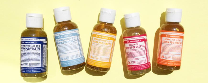 Dr Bronner's savon liquide bio voyage mini dentifrice cosmétique vegan naturel certifié