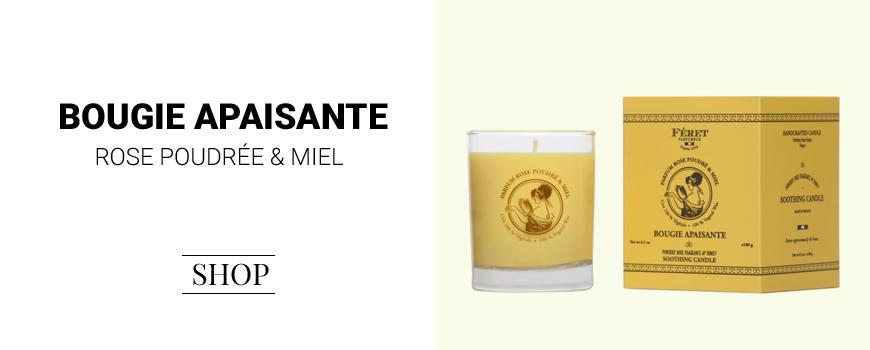 Féret Parfumeur Bougie Apaisante Parfum rose miel végétal huile 100% naturel made in france