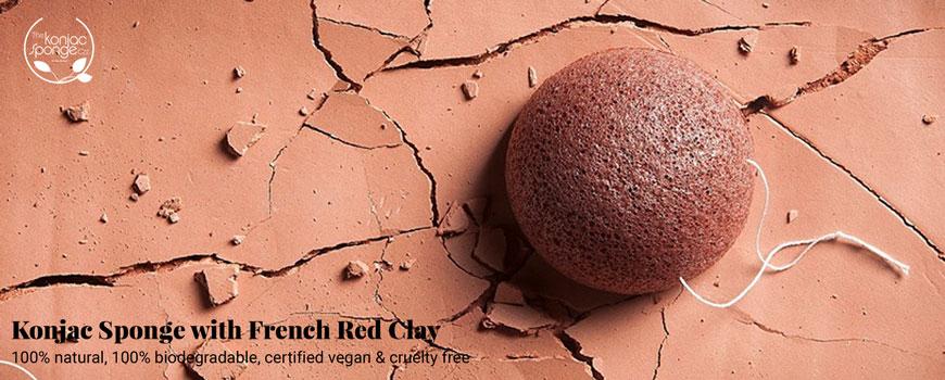 Konjac Sponge Natural Konjac sponge Red clay mature dry skin certified vegan