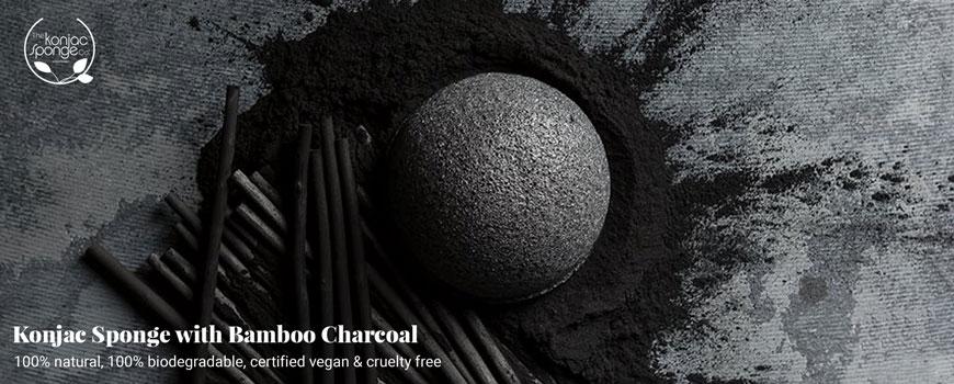 Konjac Sponge bamboo charcoal black oily skin acné cosmetics Natural organic skincare beauty green