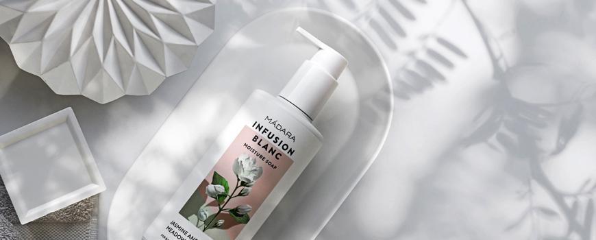 Madara cosmetics Gel Douche bio hydratant Infusion Blanc
