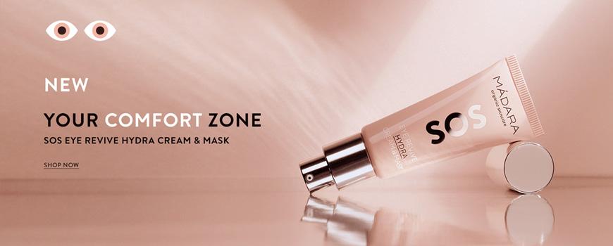 Madara cosmetics Augenkontur Creme und Maske SOS Revive Hydra Haut Naturkosmetik