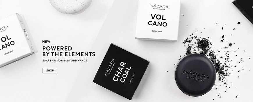 Madara cosmetics organic bar soap body hands volcano Charcoal black white natural skincare l'Officina Ecocert certified beauty