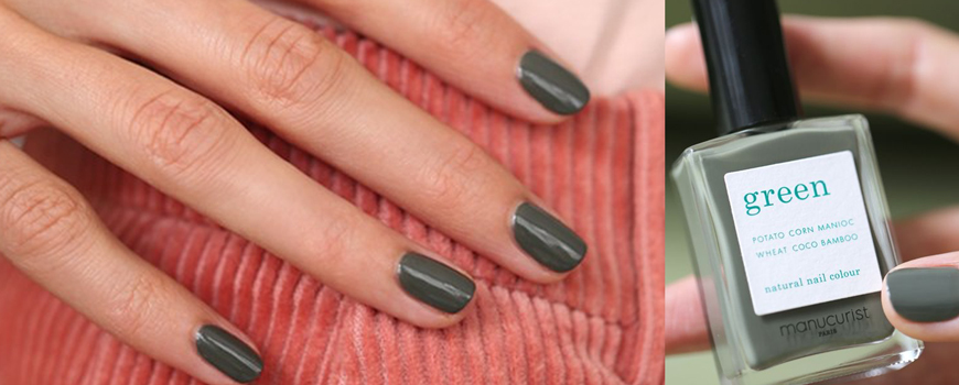 Manucurist nail polish Green Khaki autumn non toxic vegan made in France