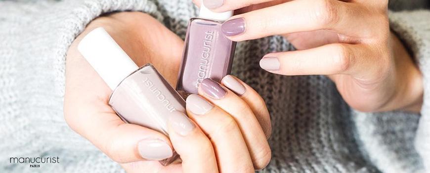 Manucurist vernis UV beige naturel Ongles gris et marrons non toxique