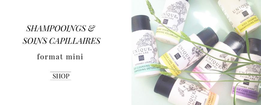 Unique Haircare Reisegrössen Mini Shampoo Bio Haarpflege Sustainable Beauty aus Dänemark Naturkosmetik Ecocert Zertifizierung