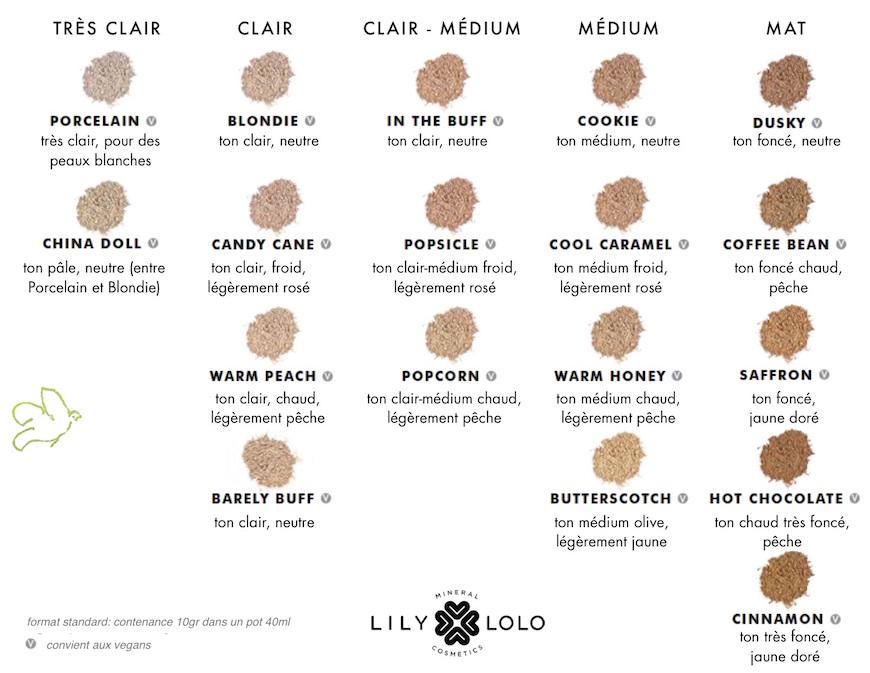 Lily Lolo fond de teint minéral toutes les teintes swatch