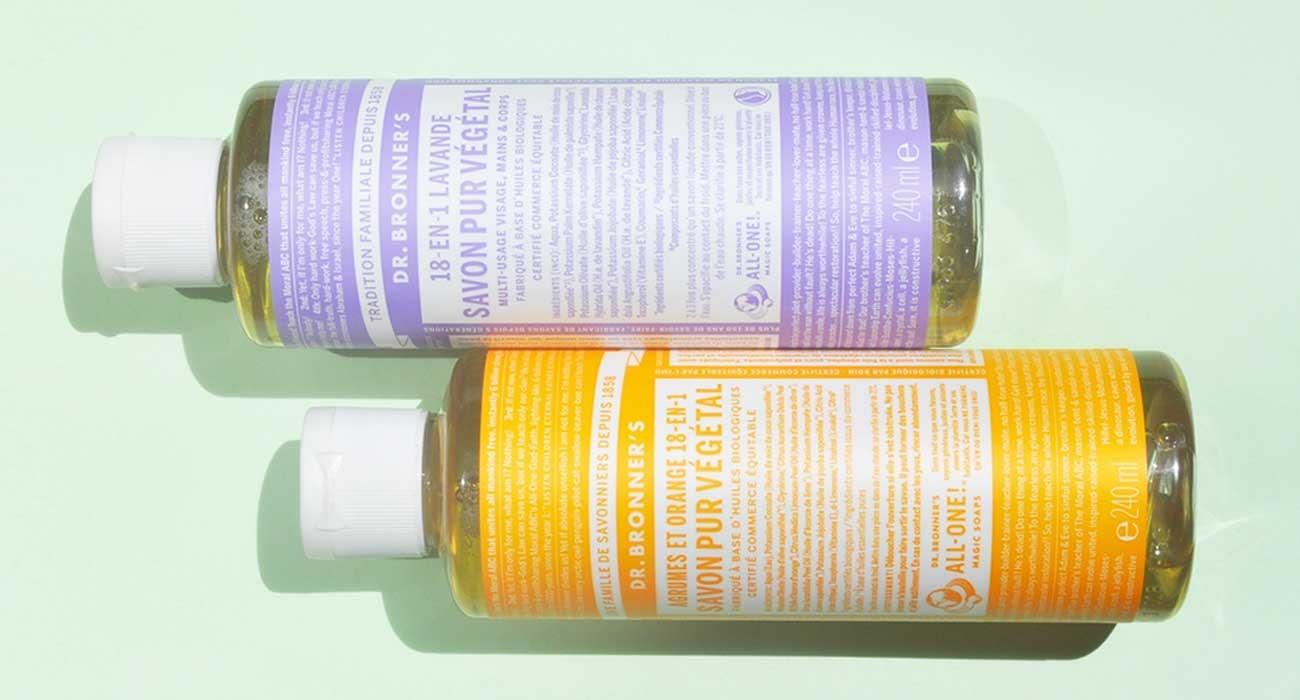 Dr Bronner's all one pure castile soap organic liquid bar natural certified fair trade vegan